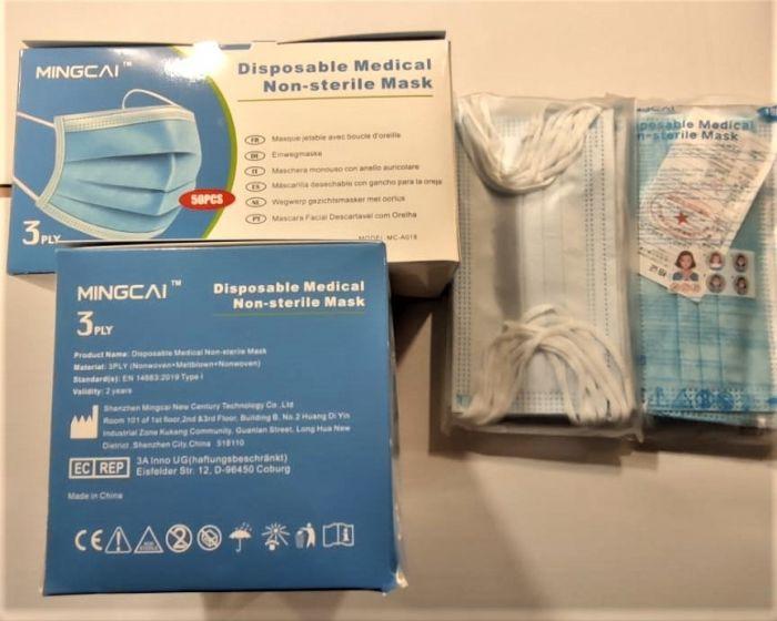 Boite de 50 masques médicaux Non Stérile jetable Mingcai 3PLY CE