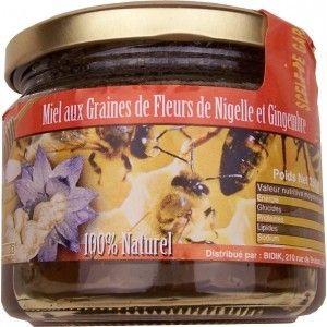 Miel aux Graines de Fleurs de Nigelle et Gingembre 100% naturel 350 gr