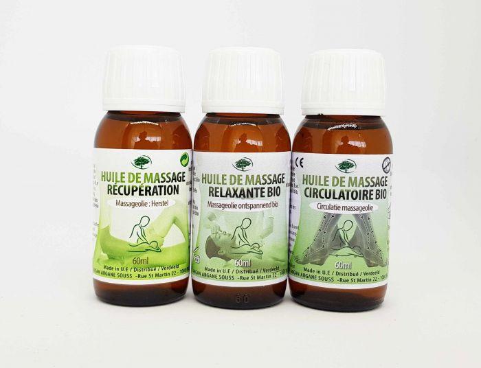 huile de massage récupération circulatoire et relaxante argan souss