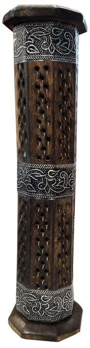 Porte encens en bois tour octogonale 3 bandes en métal gravées 30cm