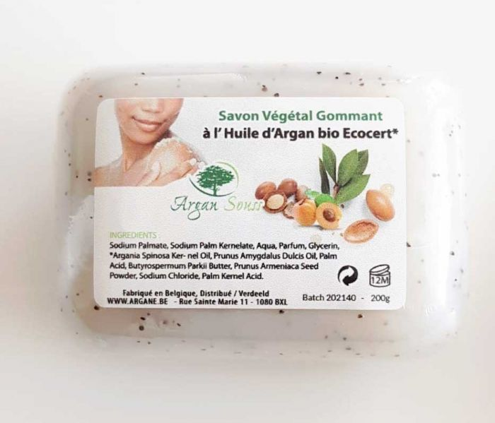 Savon naturel exfoliant à l'huile d'argan Bio 200 gr