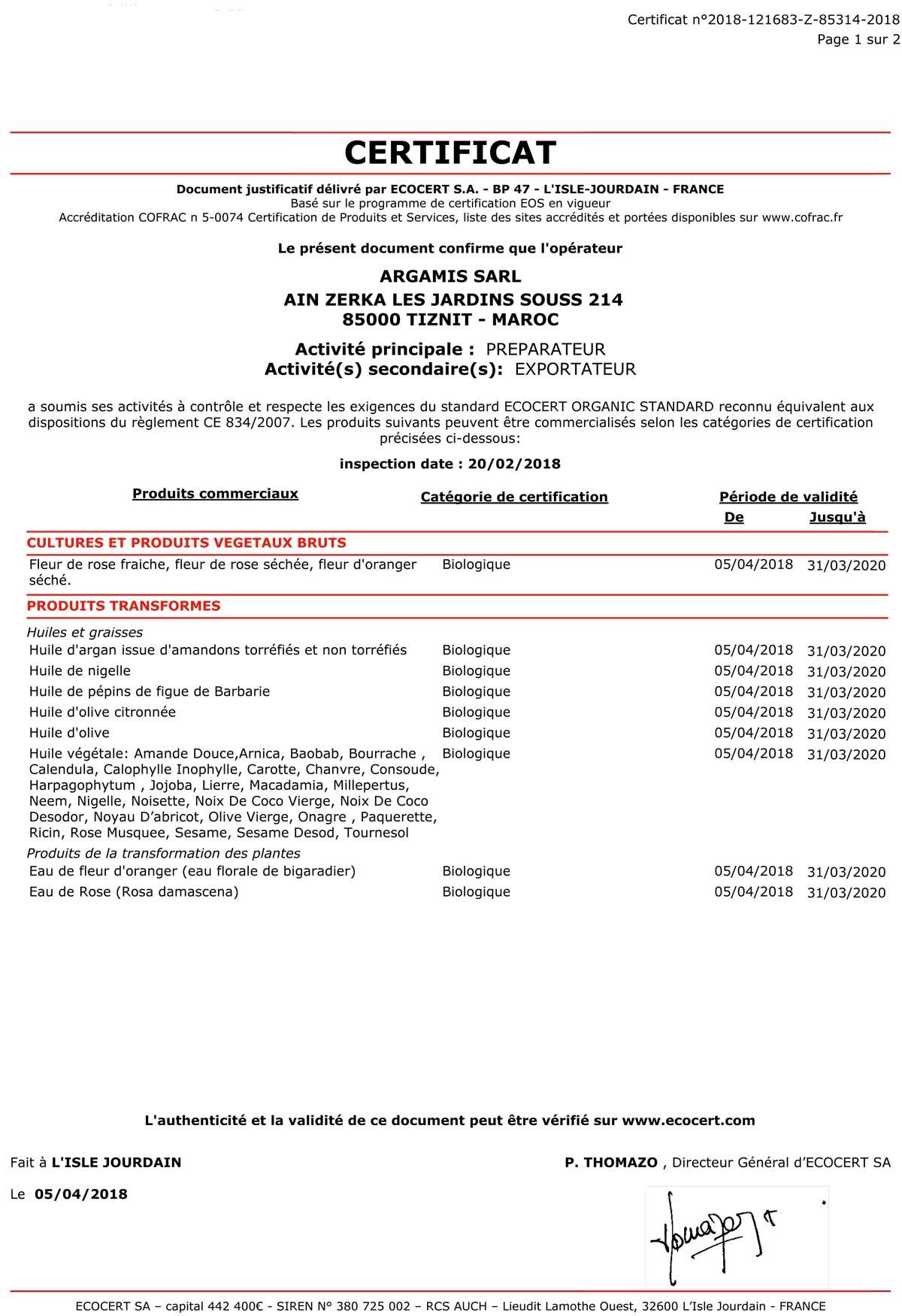 certificat bio 2020