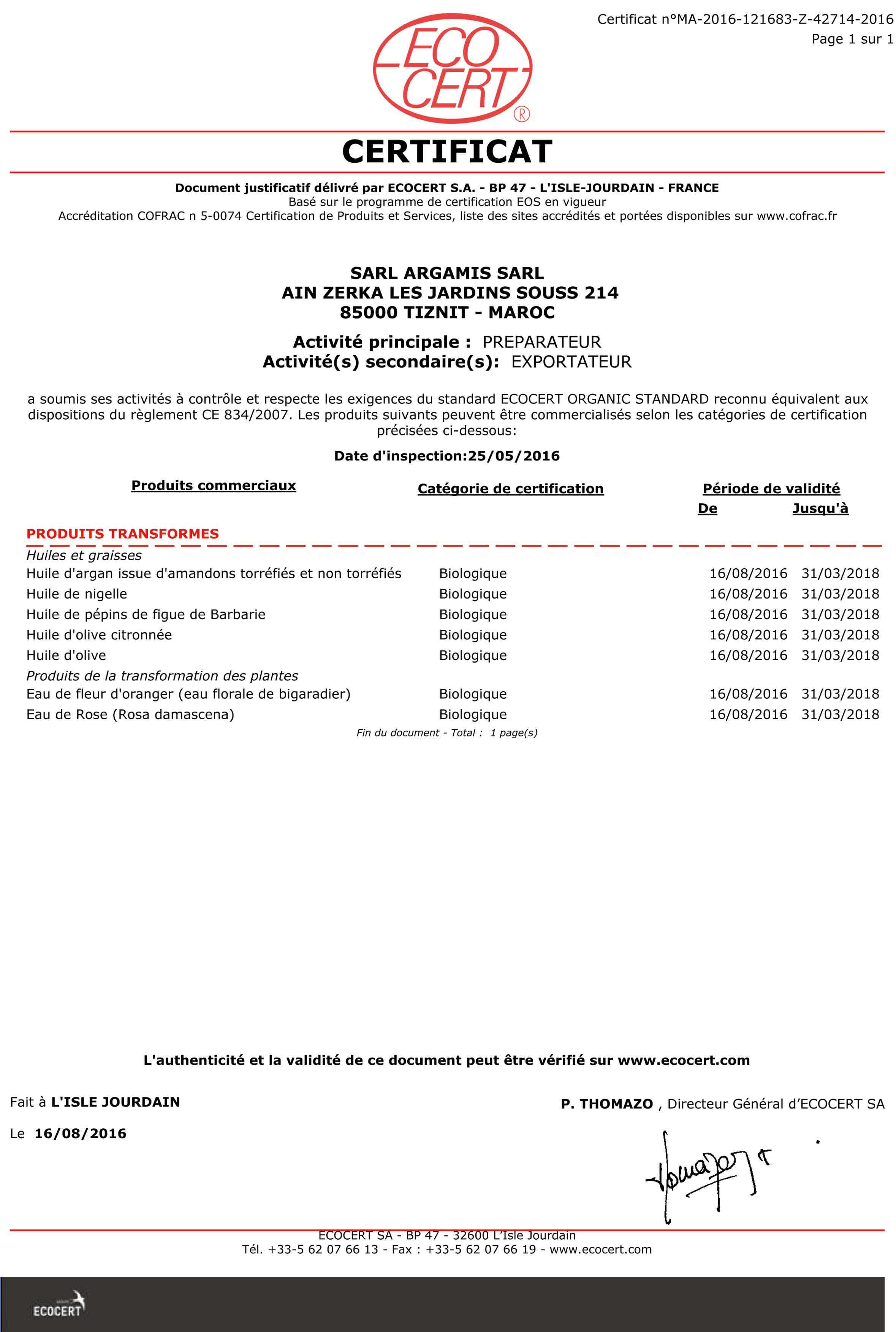 certificat ecocert 2018